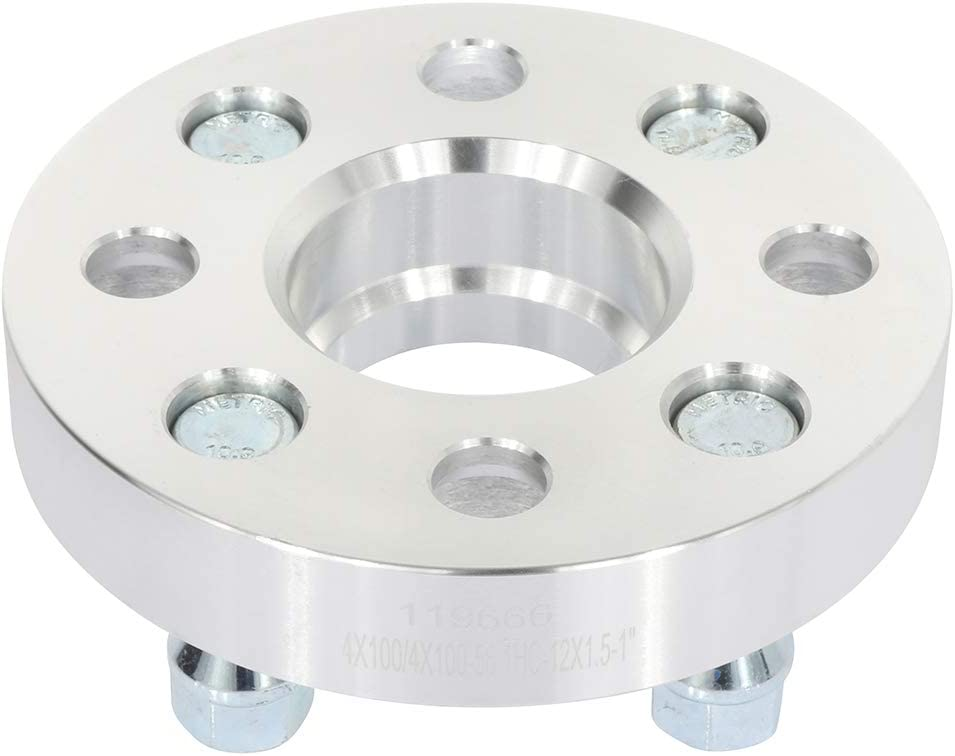OCPTY 1 inch Wheel Spacers adapters 4 Lug 4x100mm to 4x100mm 12x1.5 Studs 56.1mm fit for Chevrolet Aveo Honda Civic del Sol Mitsubishi Mirage