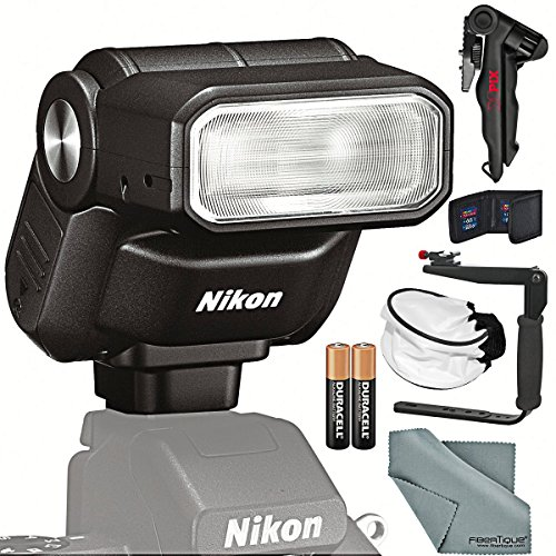 Nikon 1 SB-N7 Speedlight (Black) and Essential Bundle w/Xpix Pro Tapletop/Handgrip Tripod + SD Wallet + Diffuser + Flash Bracket + More