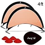 Juegoal Pop Up Soccer Goals for Training Soccer Goals Net with Carry Bag, Set of 2, Sizes 4'