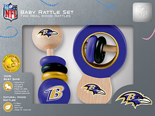 MasterPieces NFL Baltimore Ravens Natural Wood, Non-Toxic, BPA, Phthalates, & Formaldehyde Free, Baby Rattle Set, 2 Pieces