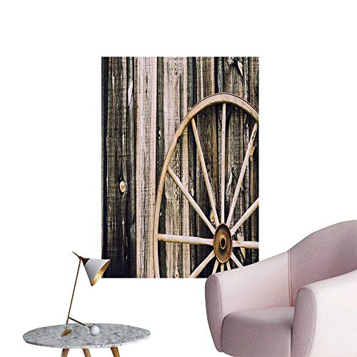 SeptSonne Wall Decals Wooden Barn Door Tage Rusty Wheel for sale  Delivered anywhere in USA