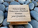 Custom engraved music box with Today a Groom, Tomorrow a Husband, Forever your Grandson on top, with your choice of color and song, great gift for Grandma