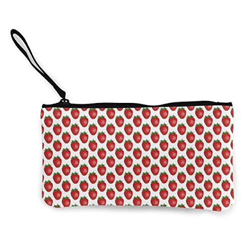 Oomato Canvas Coin Purse Pink Strawberry Cosmetic Makeup Storage Wallet Clutch Purse Pencil Bag]()