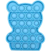 Pop Bubble Sensory Fidget Toy, Stress Relief and Anti-Anxiety Squeeze Gadget, Made from Food Grade Silicone (Bear-Blue)