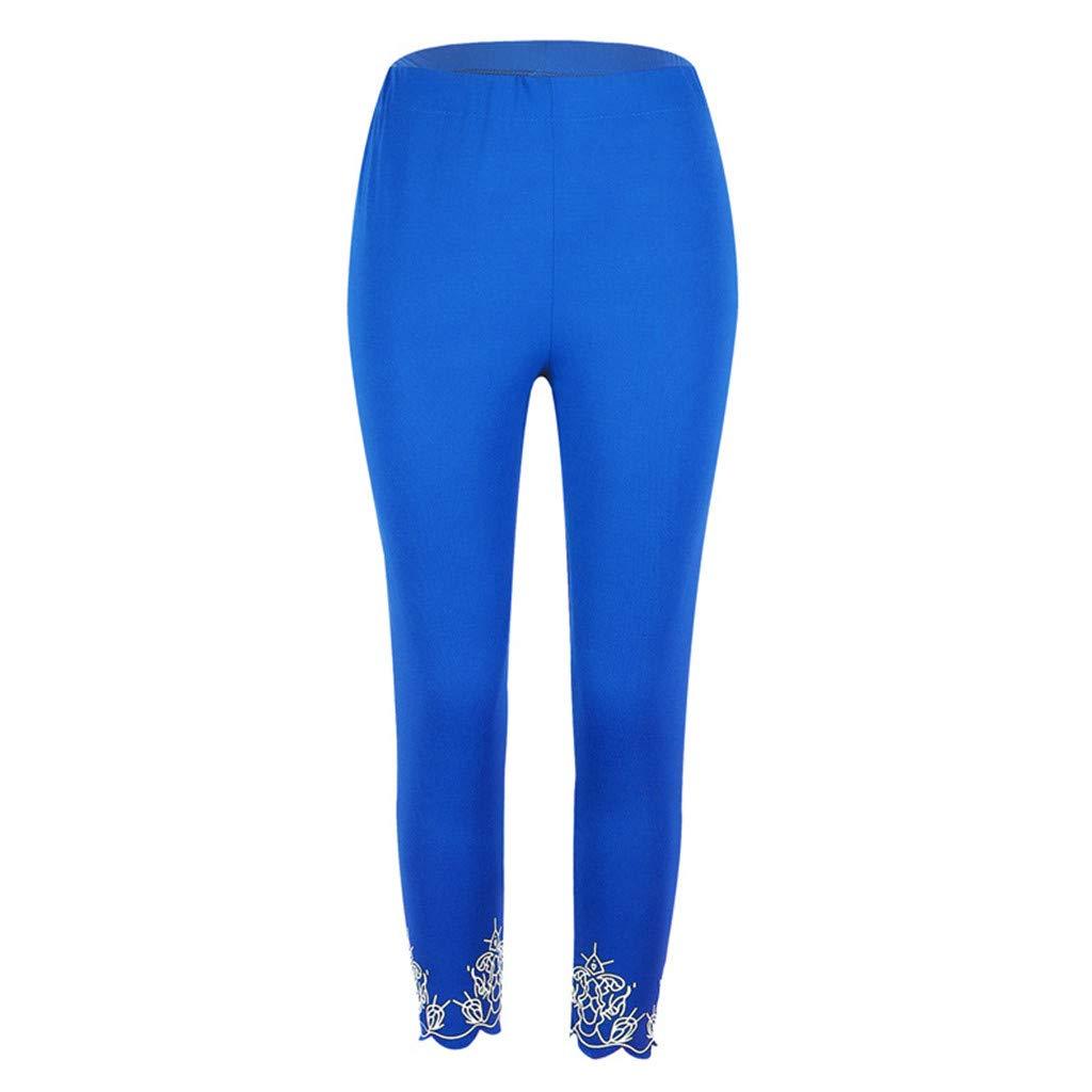 Yoga Pants for Women Plus Size Mid Waist Elegant Floral Trim Workout Running Pants Fitness Elastic Leggings Tights
