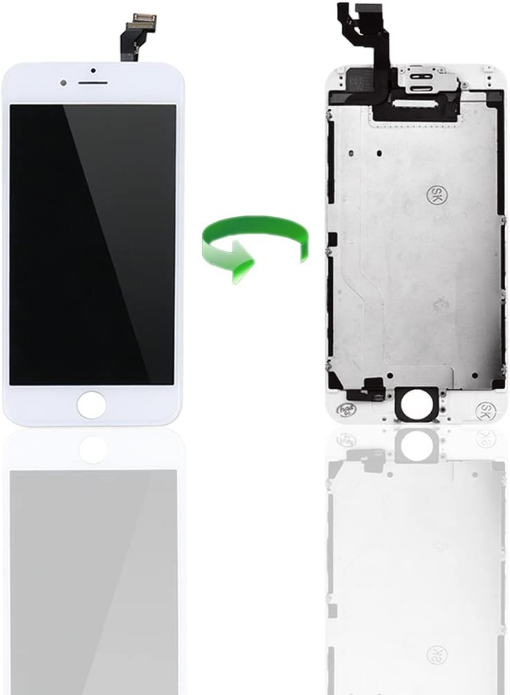 AngelaKerry - LCD Display Replacement for iPhone 4S Touch Screen Digitizer Assembly Repair with Spare Part (Home Button, Facing Proximity Sensor, Sensor Flex) + Repair Tools (White)