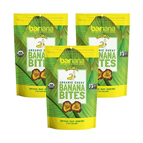 Banana Dried Organic (Organic Original Chewy Banana Bites - 3.5 Ounce (3 Count) - Delicious Barnana Potassium Rich Banana Snacks - Lunch Dinner Sports Hiking Natural Snack - Whole 30, Paleo, Vegan)