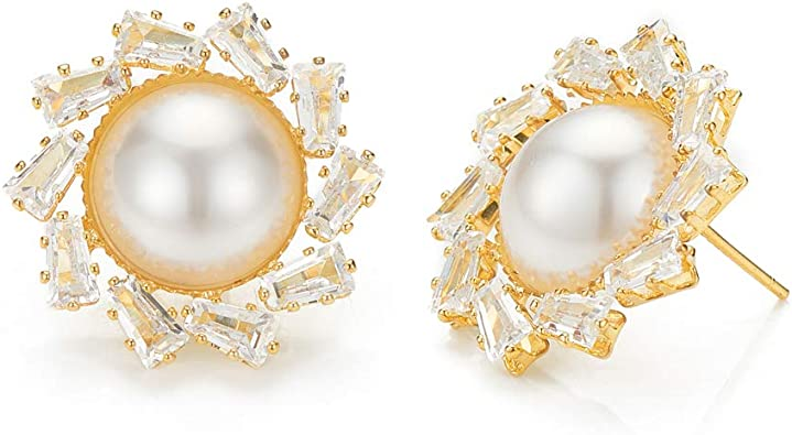 Gold Plated Flower Pearl Earring