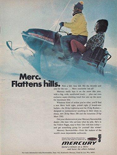 Flattens hills - Mercury snowmobile magazine ad 1971
