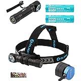 2 Batteries Kit: Olight H2R Nova 2300 Lumen LED Rechargeable Flashlight, Headlamp headband, Clip, two Customized 18650 Batteries, magnetic USB charging cable and LegionArm sticker (LED: Cool White)