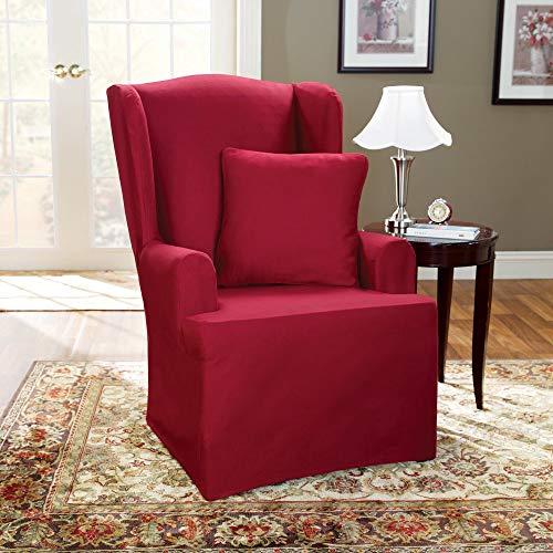 SureFit  Cotton Duck Wing Chair Slipcover, Claret
