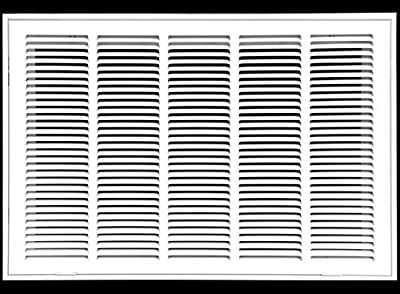 """25"""" X 14 Steel Return Air Filter Grille for 1"""" Filter - Fixed Hinged - Ceiling Recommended - HVAC Duct Cover - Flat Stamped Face - White [Outer Dimensions: 27.5 X 15.75]"""