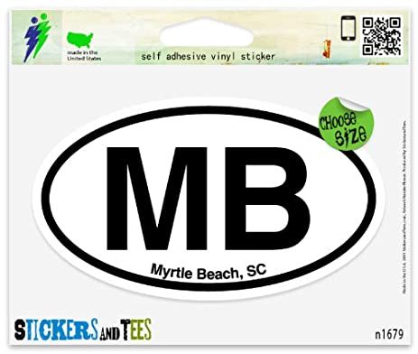 Mb myrtle beach south carolina oval car sticker indoor outdoor 5