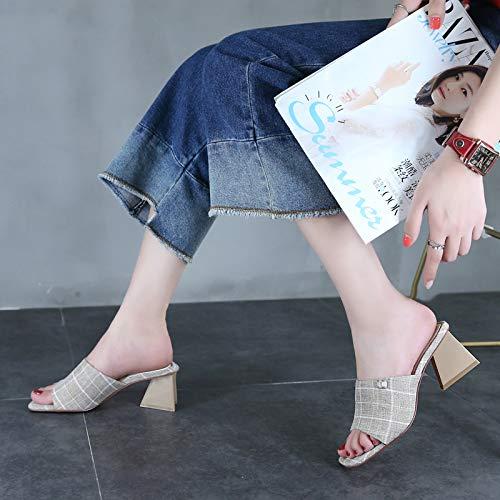 HBDLH Damenschuhe Kopf Retro-Platz Kopf Damenschuhe Sommer-Joker Kariert Harte Sohle 6 cm Hohen Ferse Zehen Mädchen Tragen Coole Schuhe. a41a61