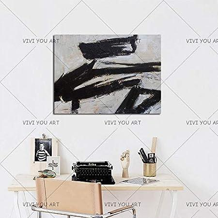 QCZC Cuadro en acrílico Gran Artista Pintado a ManoModerno Abstracto Blanco y Negro Pintura al óleo sobre Lienzo Cuadros Abstractos Hechos a Mano para Sala de Estar 100x150 cm