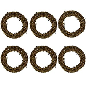 rescozy (Pack of 6) Natural DIY Grapevine Wreath Christmas Garlands 4-Inch 44