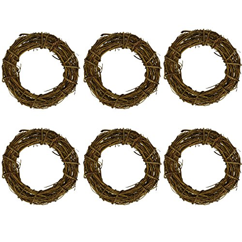 rescozy (Pack of 6) Natural DIY Grapevine Wreath Christmas Garlands 8-Inch