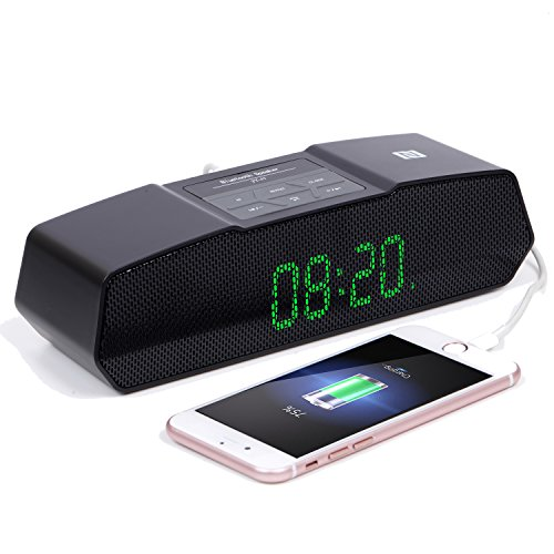 AFILADO Digital Alarm Clocks Radio, Wireless Bluetooth Speaker, with Stereo Sound, Large LED Display, 2 Groups of Alarm Time, Cell Phone USB Charging and TF Card Slot