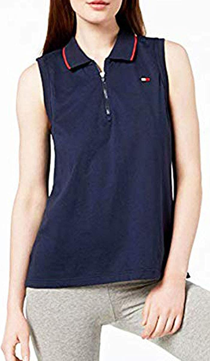 Tommy Hilfiger Womens Sleeveless Zipper Polo Shirt Color Navy Size X-Large