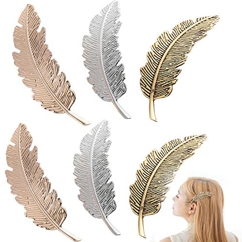 INTVN Haarspangen Metall Feder Blatt Haarklammern Haar Schnalle Kopfschmuck Haarschmuck Haar Zubehör für Mädchen Damen 6Stück