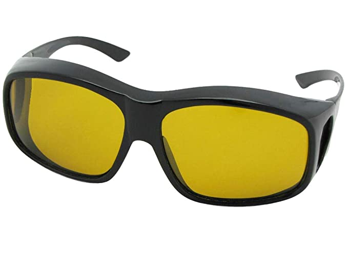 72d721cbbe83 Largest Polarized Fit Over Sunglasses Worn Over Prescription Glasses Style  F19 (Black-Dark Yellow