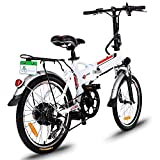 Kaluo 18.7'' Wheel Aluminum Alloy Frame Power Plus Folding Electric Mountain Bike Cycling Bicycle with Removable Lithium-Ion Battery, White, 250W 36V