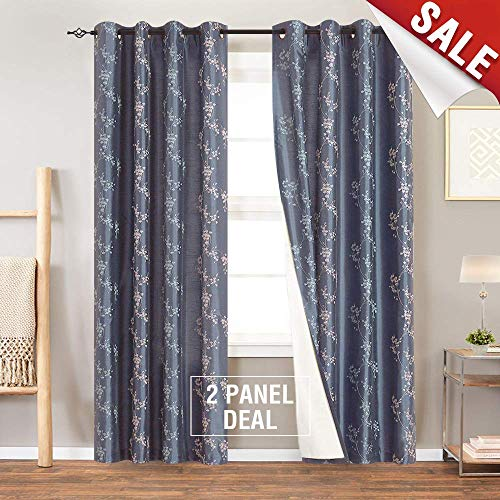 Floral Embroidered Curtains for Bedroom Drapes Semi Sheer Curtains for Living Room Faux Silk Embroidery Curtain Panels 95 inches Long Grommet Top 2 Pieces, Slate Blue