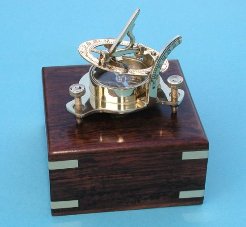 Small Brass Sundial Compass with Hardwood Case Stanley London