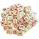 100 Wooden Colourful Scrabble Tiles Mix Letters Varnished Alphabet Numbers