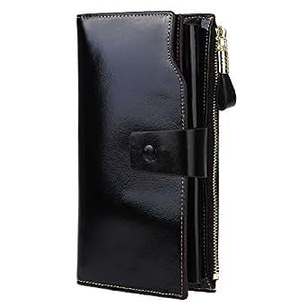 GDTK Women's Large Capacity Luxury Wax Genuine Leather Purse Clutch Wallet (Black)
