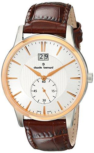 Claude Bernard Men's 64005 357R AIR Classic Gents Analog Display Swiss Quartz Brown Watch