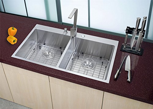 Starstar 33 Inch Topmount / Drop In Stainless Steel Double Bowl Kitchen Sink 16 Gauge with Accessories (Bowl Double Top)