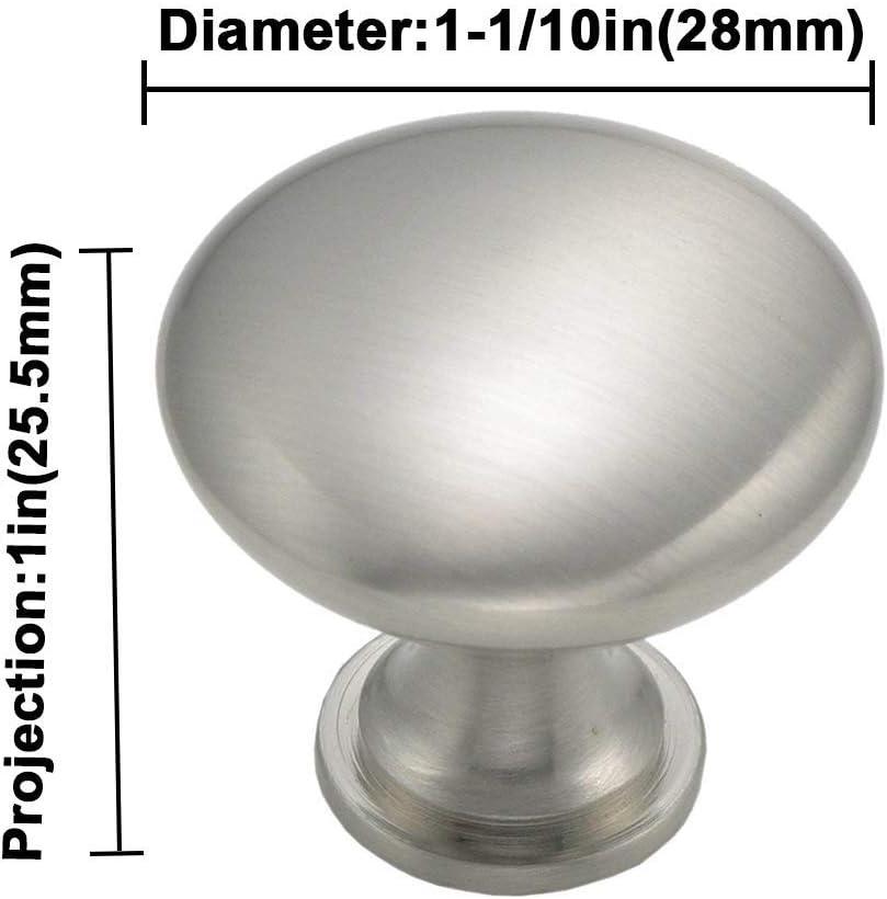 goldenwarm Traditional Round Solid Cabinet Hardware Knob LS6050SNB Round Cabinet Knobs Satin Nickel Mushroom Cabinet Knob Diameter:1-1//10in 5 Pack