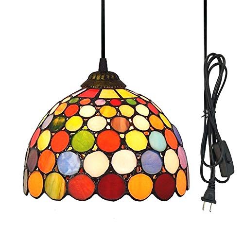 (Kiven 1-Light Plug-in Pendant,Tiffany Multi-Colored Glass Lamp Shade Lamp,Dimmable)