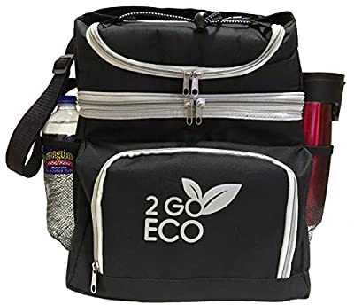 Soft Sided Cooler Insulated Bag Double Decker Large Lunch Box For Adults Durable Hot Cold Caddy