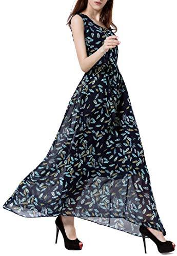 (Wantdo Women's Casual Long Dress Scoop Neck Maxi Skirt Belt Navy Leaves S)