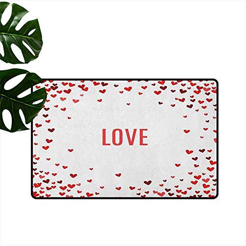 RenteriaDecor Love,Entrance Anti-Slip Doormat Romance Themed Illustration Hearts Background Abstract Amour Ornamental Design 24