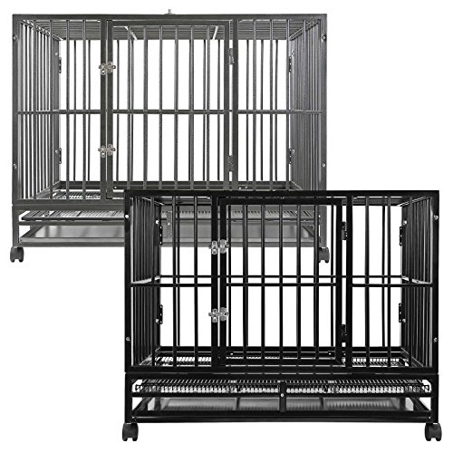 SmithBuilt Heavy Duty Dog Cage, 48-Inch, Black