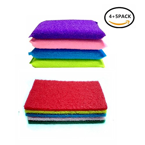 Twin Bowl Sink (Wash Kitchen de Soft Sponge Brush Dish Towel Scrubber for Home Cleaning Food-Grade Antibacterial Non Stick Scrub Pot Pan Bowl Vegetable Fruit 9PCS)