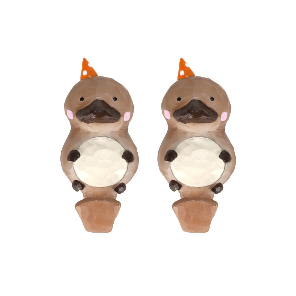FLYING BALLOON Cute Cartoon Animals Shaped Resin Decorative Wall Mounted Key Holder Coat Hook Rack for Home, Set of 2