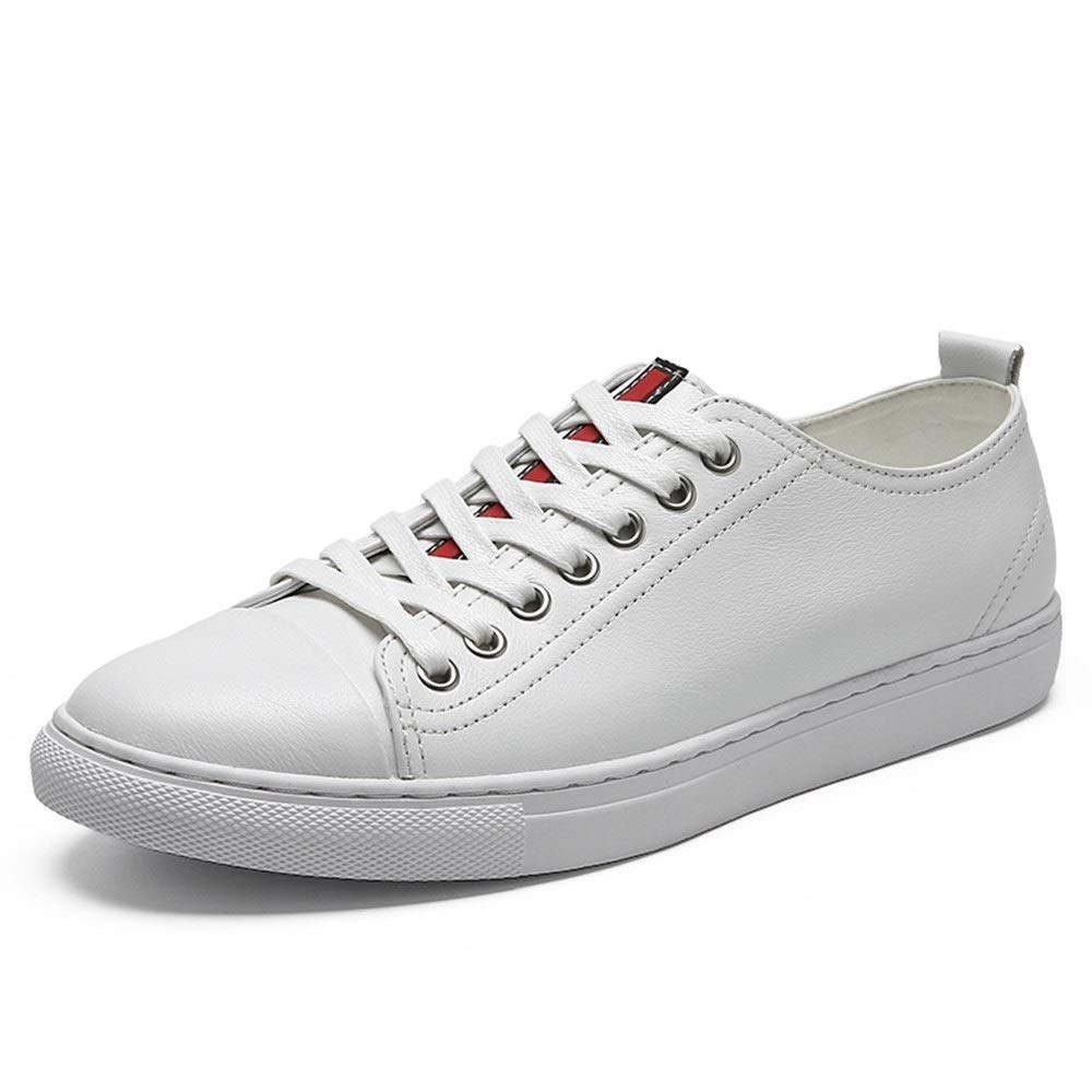 Fashion Sneaker for Men Sports shoes Lace Up OX Leather Simple Pure colors Lightweight Round Toe shoes Men's Boots (color   White, Size   7.5 UK)