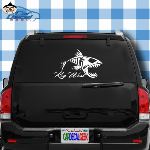 (Key West Florida Fish Skeleton Vinyl Decal Sticker for Car Truck Window Laptop MacBook Wall Cooler Tumbler | Die-Cut/No Background | Multiple Sizes and Colors, 14-Inch, Orange)