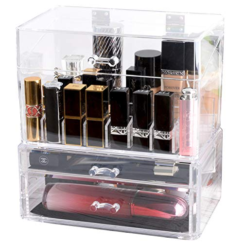 InnSweet Makeup Organizer Holder, Cosmetic Display Cases with Slanted Front Open Lid, Acrylic Cosmetic Storage for Makeup, Brushes, Perfumes, Skincare from InnSweet