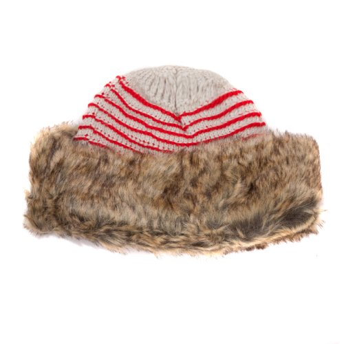GewGaw Women's Gew Gaw Cossack Trapper Hat with Stripes and Faux Fur Trim One Size Cream/Red & Brown