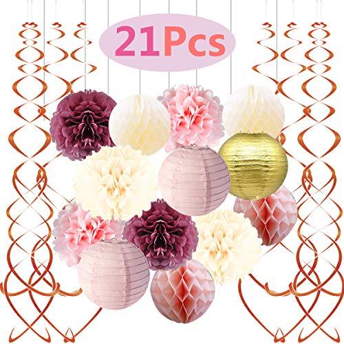 Famoby Dusty Rose Blush Pink Cream White Poms Honeycomb Balls Rose Gold Hanging Swirls Gold Paper Lanterns for Wedding Valentine