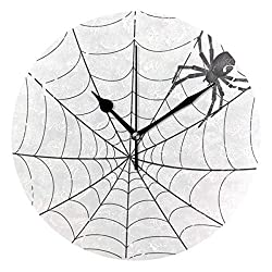 Dozili Spiderweb White Minimalist Round Wall Clock Arabic Numerals Design Non Ticking Wall Clock Large for Bedrooms,Living Room,Bathroom