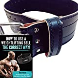 Toronto Sports and Fitness Weight Lifting Belt with Bonus Training Plan – Strength Training Workout Equipment for Men – Premium Cowhide Leather – Black – Large