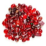 Cocoa's Ruby Red Orange Lamp Work & Glass Beads Mix 30 beads Free Shipping Free
