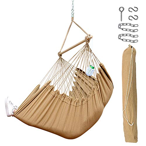 Lazy Daze Hammocks XXL Hanging Rope Hammock Chair Swing Seat with Drink Holder, Carrying Bag and Hanging Hardware, Weight Capacity 300 Lbs, Tan