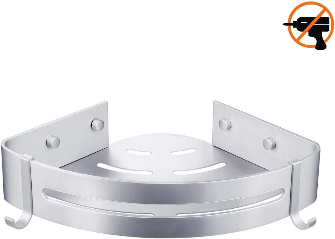 Multifunktions Dusche Ablage Duschkorb Duschaufbewahrung Duschablage Bogeer Duschregal ohne Bohren mit Haken und Magic Sticker Aluminium duschregal eckregal Doppelschicht